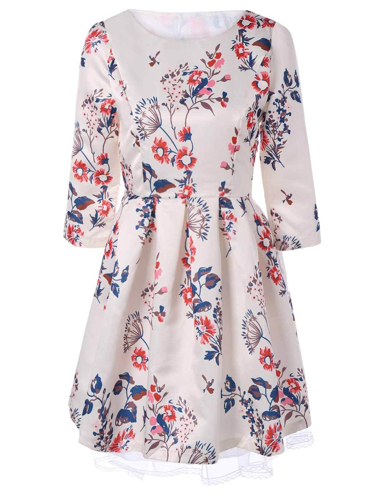 Retro Round Neck Floral Printed 3/4 Sleeve Fit and Flare Dress - APRICOT XL