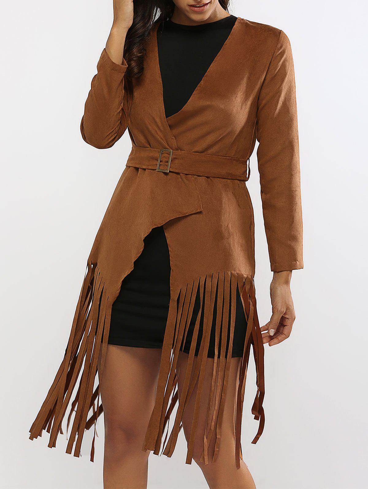Fringed Belted Faux Suede Wrap Coat - BROWN S
