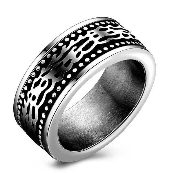 Fashion Style Embossed Stoving Varnish Ring - SILVER 9