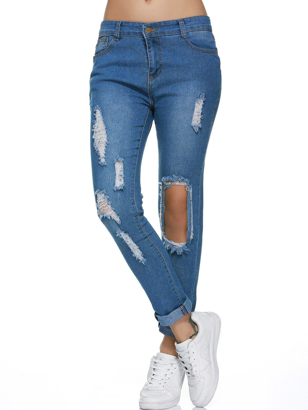 Broken Hole Design Distressed Jeans - BLUE XL