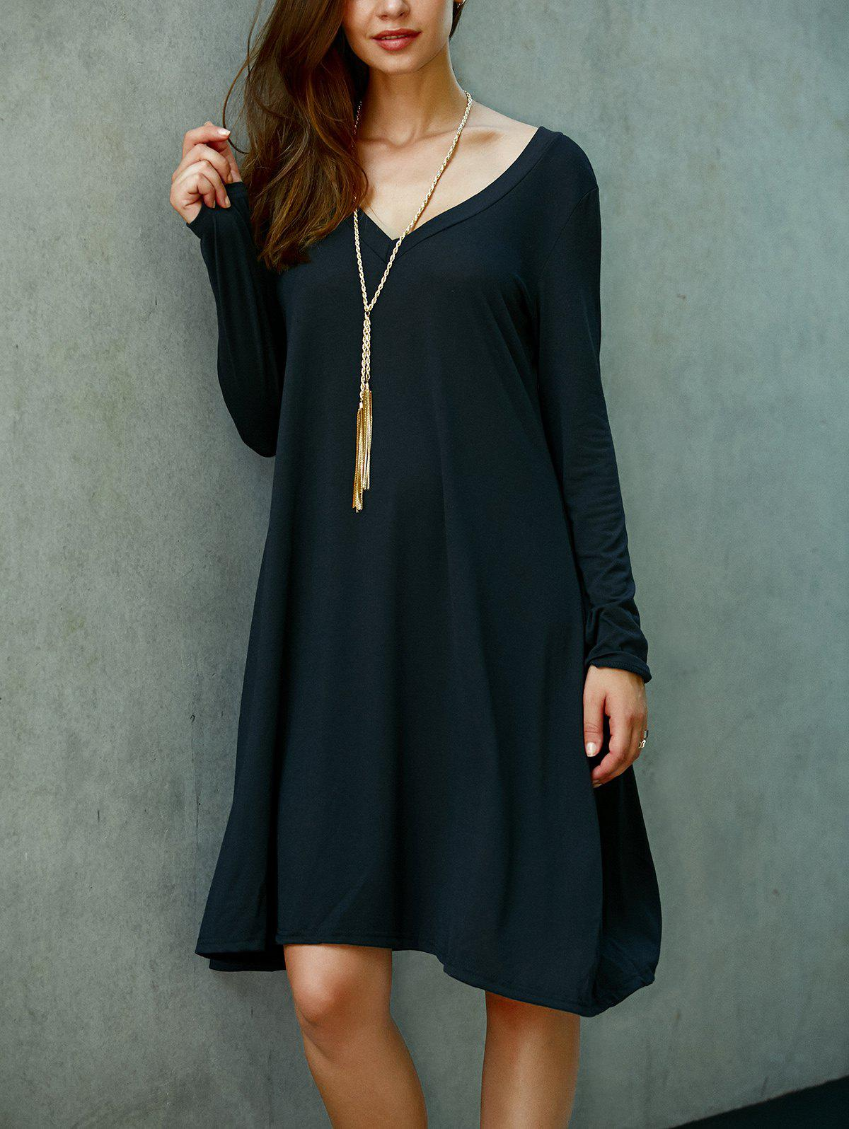 V Neck Loose Shift Dress