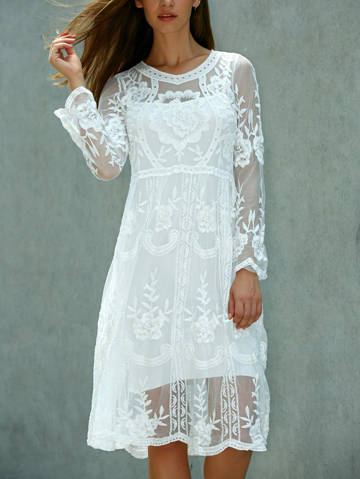 Long Sleeve Crochet Lace Dress - WHITE ONE SIZE(FIT SIZE XS TO M)