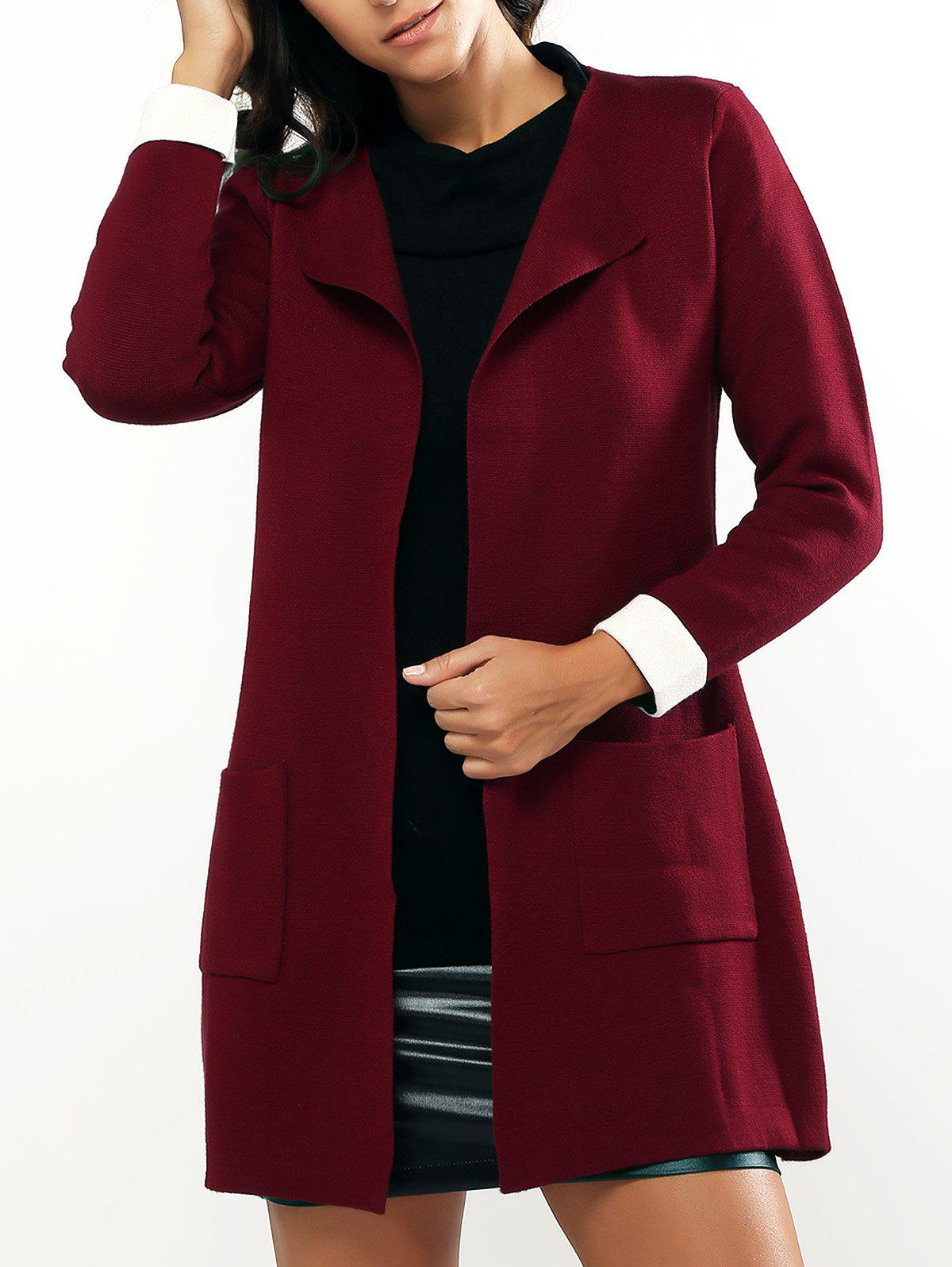 Casual Loose Fitting Pocket Design Long Cardigan - WINE RED ONE SIZE