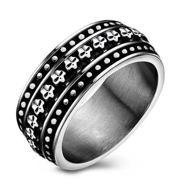 Retro Style Etched Skull Pattern Ring