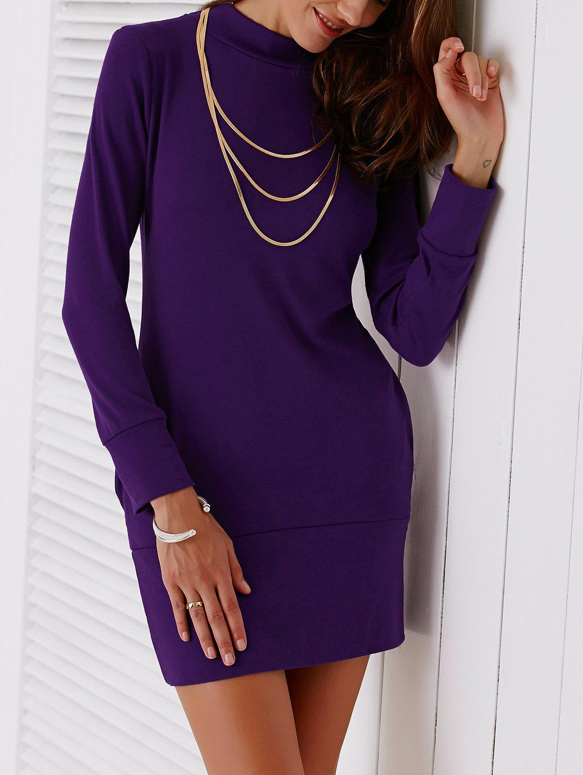 Turtleneck Sheath Mini Dress - PURPLE S