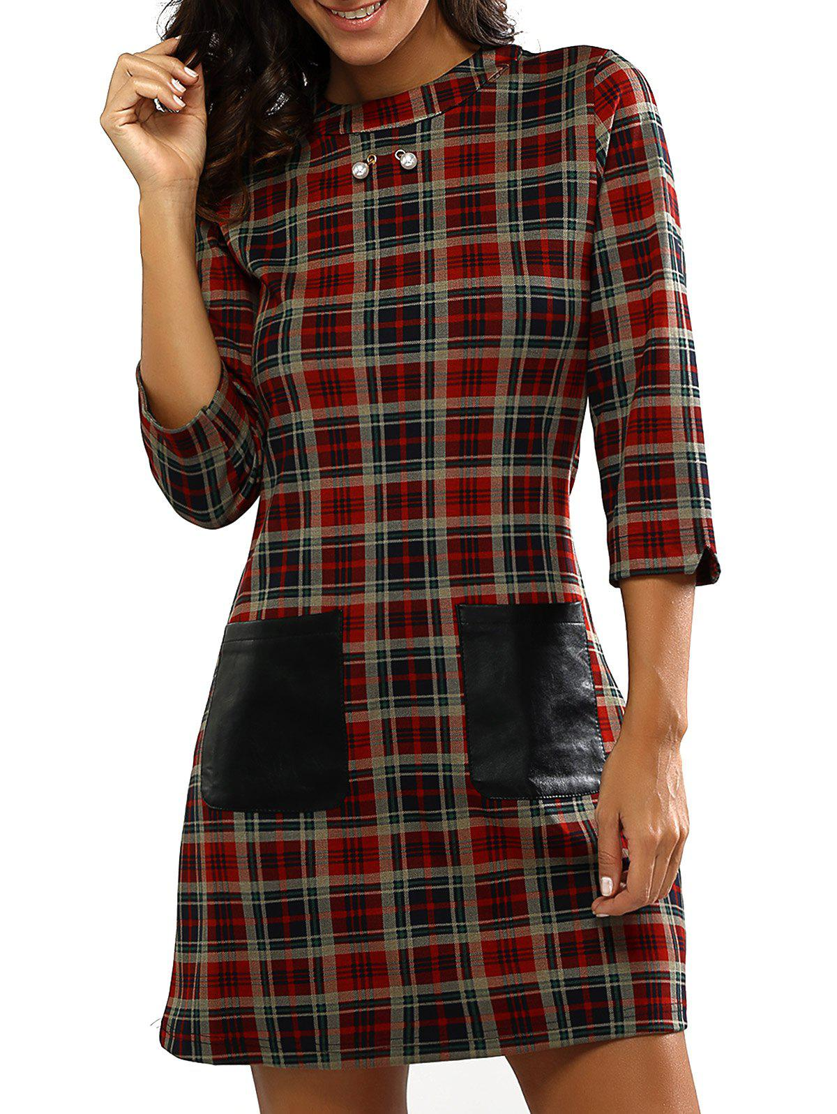 Retro Gingham Print Faux Lether Pocket Dress - CHECKED XL