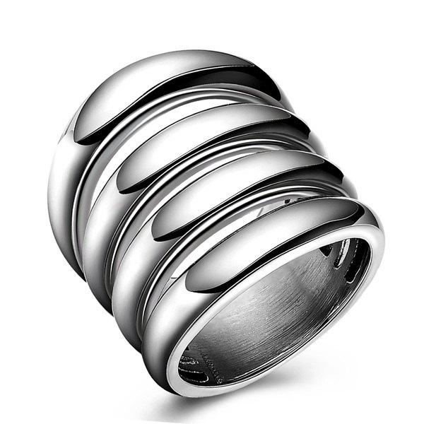 Punk Cut Out Shiny Side Four Rows Ring - SILVER 10