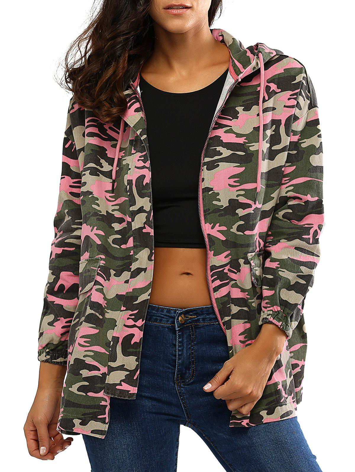 Colorful Camo Print Hooded Loose Coat - CAMOUFLAGE XL