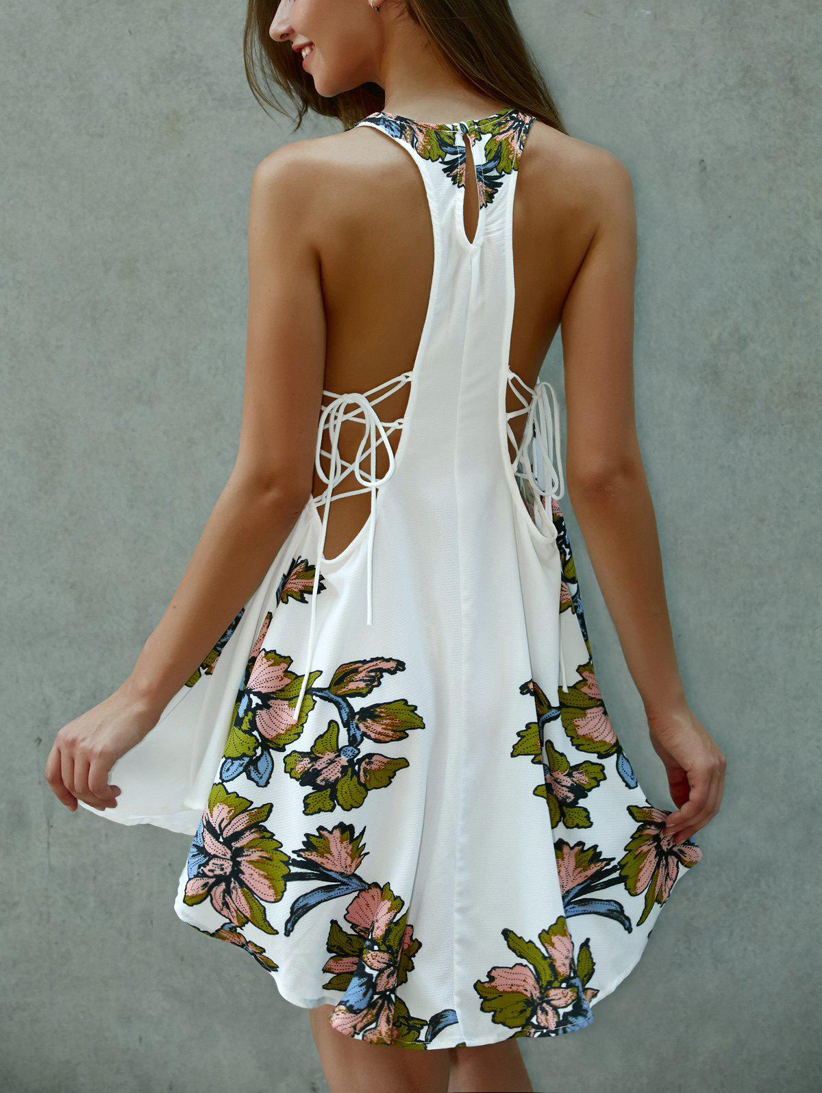 Asymmetrical Scoop Neck Floral Print Lace-Up  Dress - WHITE S