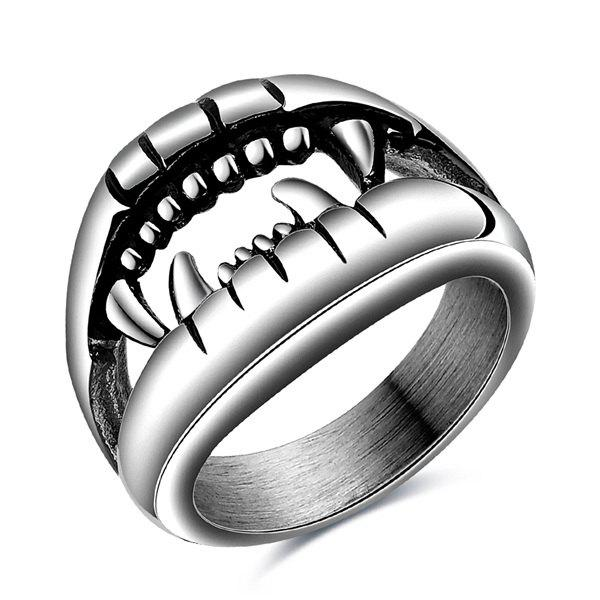Fashion Style Cut Out Finger Devil Ring - 8 SILVER