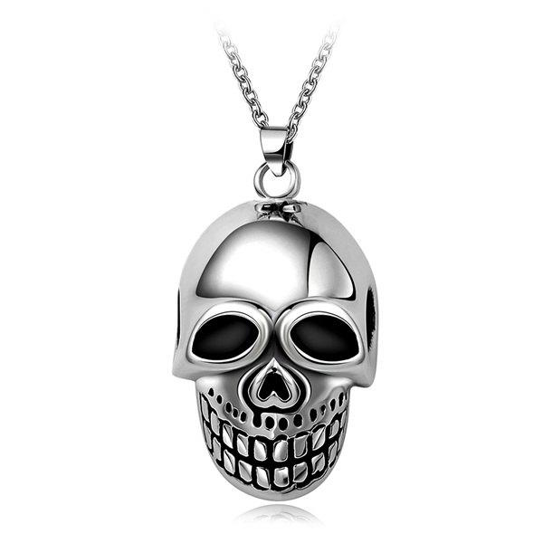 Fashion High Polished Cut Out Skull Necklace