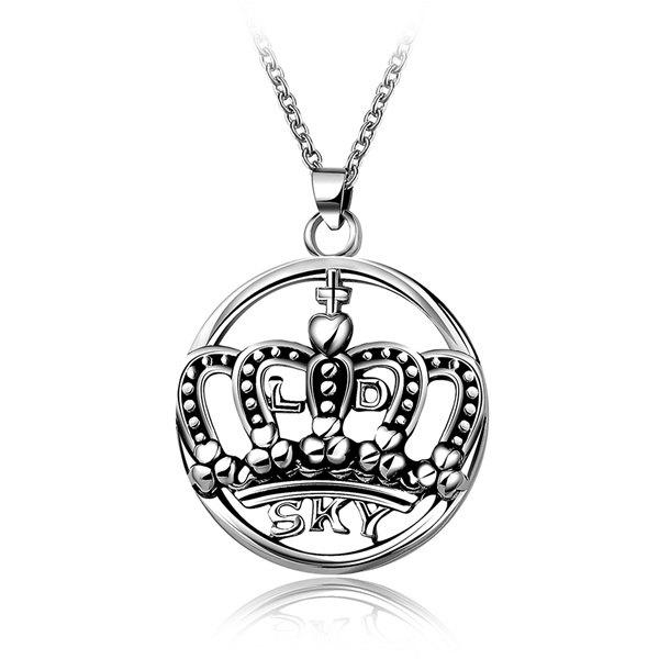 Fashion Etched Filigree Crown Letters Round Pendant Necklace -  SILVER