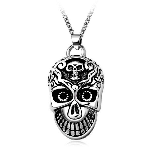 Fashion Embossed Cool Devil Head Necklace - SILVER