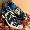 Pixel Camo Print Lace-Up Casual Shoes - DEEP BLUE 43