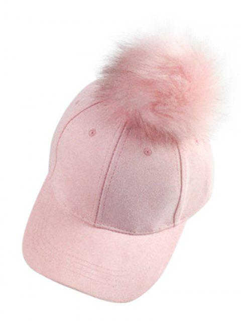 Casual Big Fuzzy Ball Faux Suede Baseball Hat - PINK