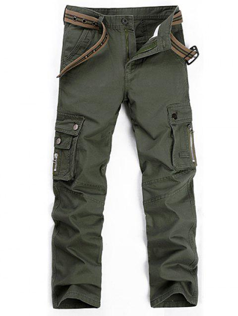Plus Size Zipper Fly Straight Leg Slimming Pockets Design Pants - ARMY GREEN 38