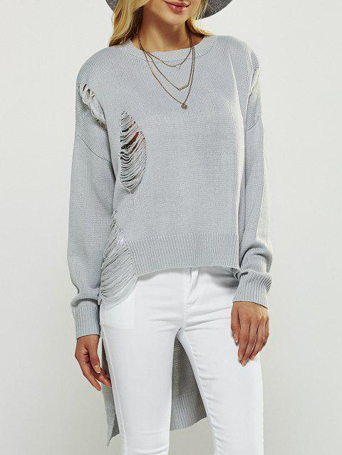 Asymmetrical Ripped Sweater - LIGHT GRAY ONE SIZE