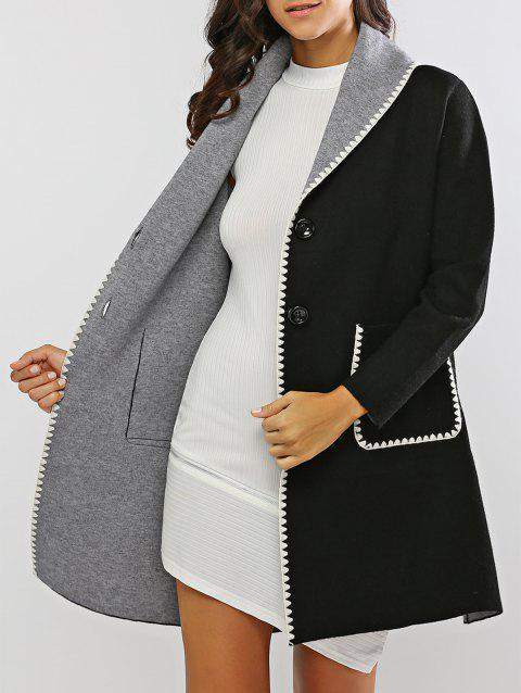 Contraste-Trim Covertible Cardigan long - Noir ONE SIZE