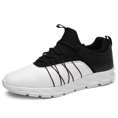 Splicing Lace-Up Athletic Shoes - WHITE/BLACK 42