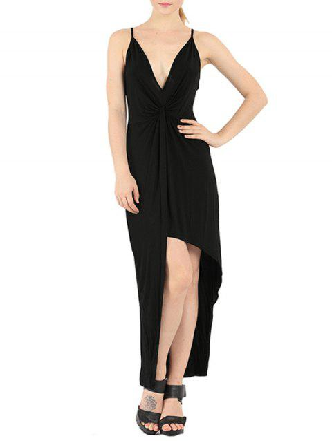 Pluton noué Slip Maxi Backless Club Dress - Noir S