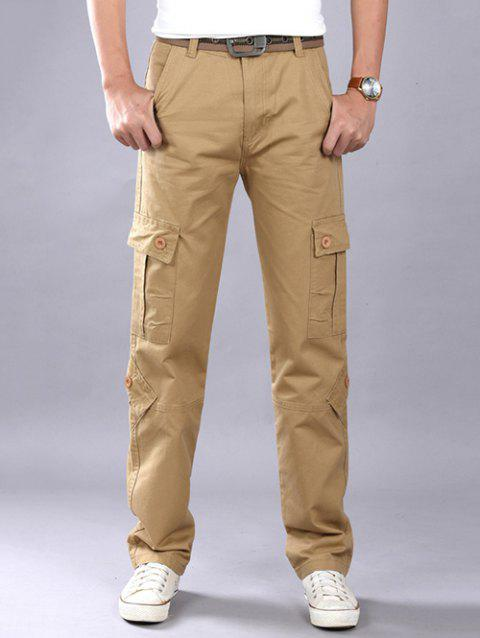 e44b3d0191e Plus Size Zipper Fly Straight Leg Slimming Pockets Design Cargo Pants -  KHAKI 38