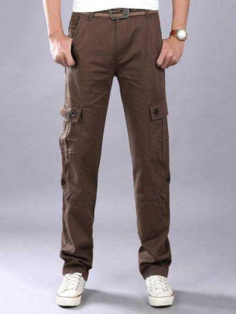 a7dd09a4bf1 Plus Size Zipper Fly Straight Leg Slimming Pockets Design Cargo Pants -  COFFEE 32