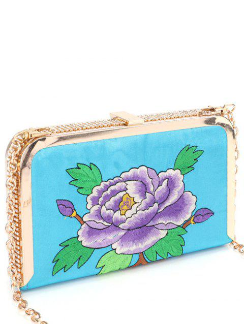 Rhinestone Flower Embroidered Chains Evening Bag - LAKE BLUE
