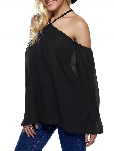 Off The Shoulder Loose Chiffon Blouse - BLACK S