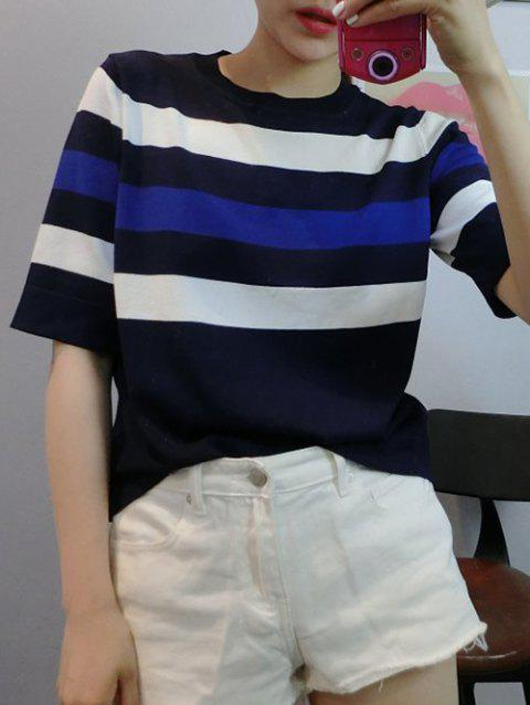 Colorful Striped 1/2 manches T-shirt - Noir ONE SIZE