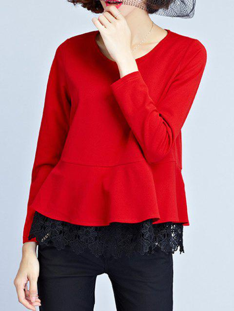 Long Sleeve Peplum Blouse - RED XL