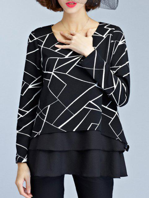 Layered Geometric Chiffon Blouse - BLACK 3XL