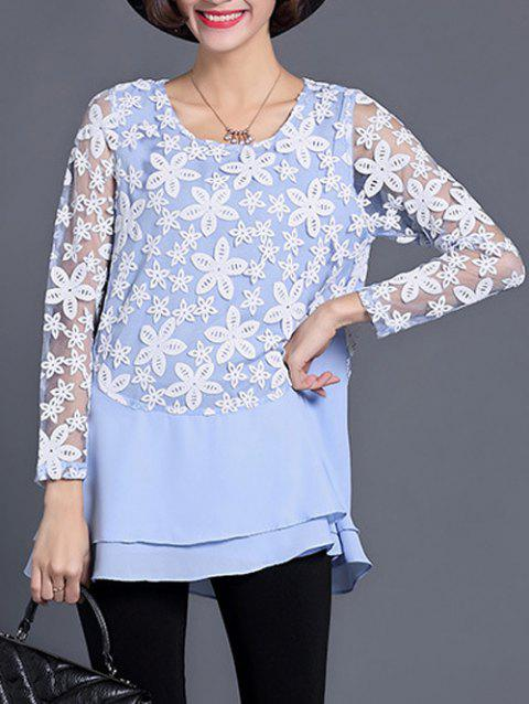 See Through Layered Blouse - LIGHT BLUE 2XL
