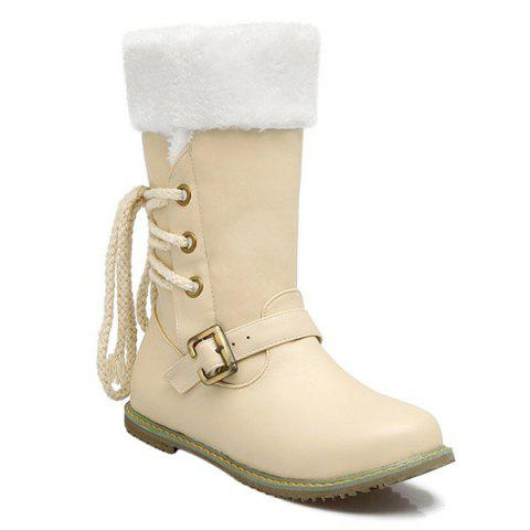 Tie Up Belt Buckle Mid Calf Boots - OFF WHITE 39
