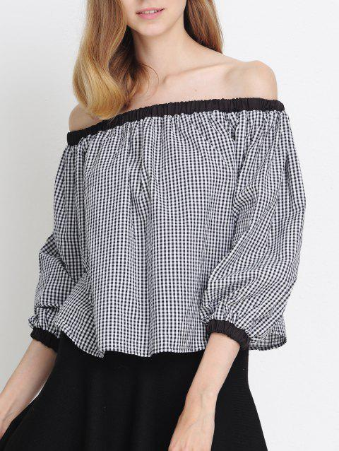 Plaid Off The Shoulder Flounce Blouse - WHITE/BLACK S