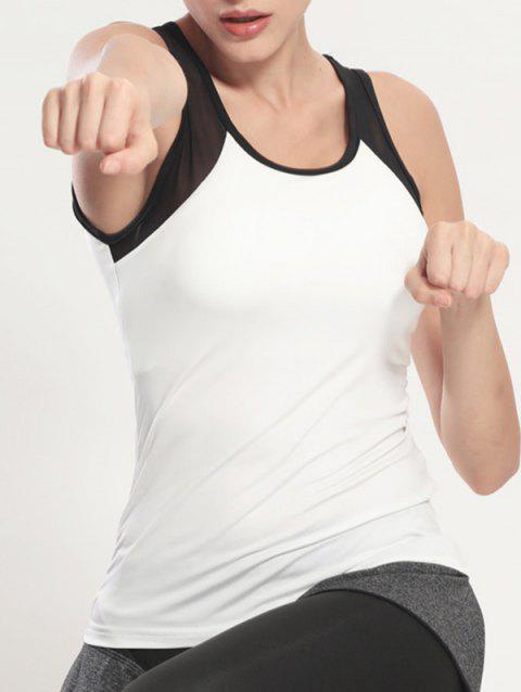 Tank Top Gym Scoop Neck Mesh - Blanc et Noir S