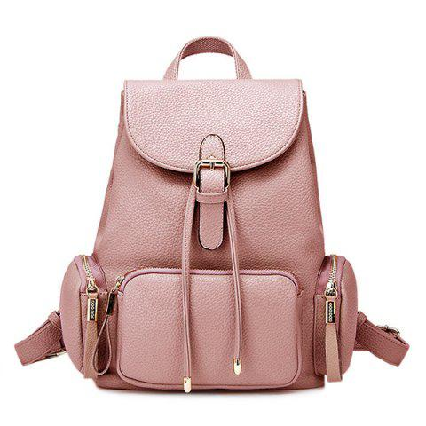 Drawstring Pocket Flap Backpack - Rose