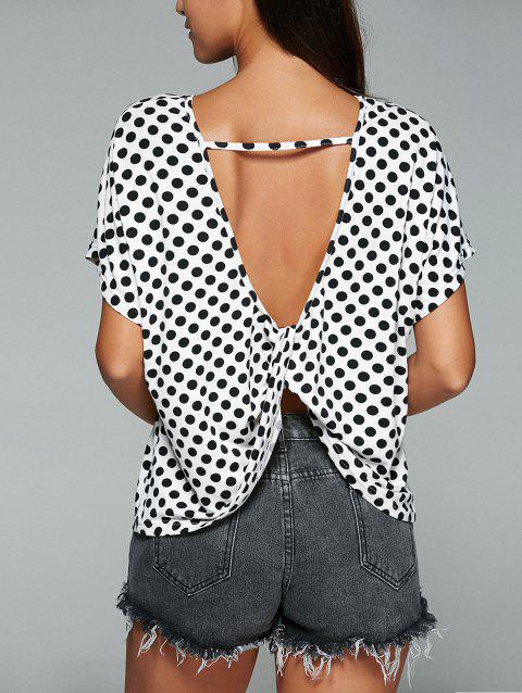 Manches courtes Polka Dot Blackless T-shirt Twist Knot - Noir S