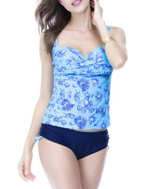 Sweetheart Neck Print Underwire Padded Slimming Tankini - AZURE 2XL