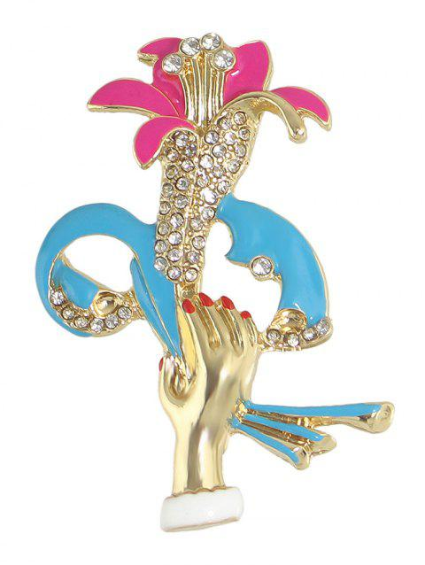 Rhinestone Hand Lift Floral Shape Brooch - GOLDEN
