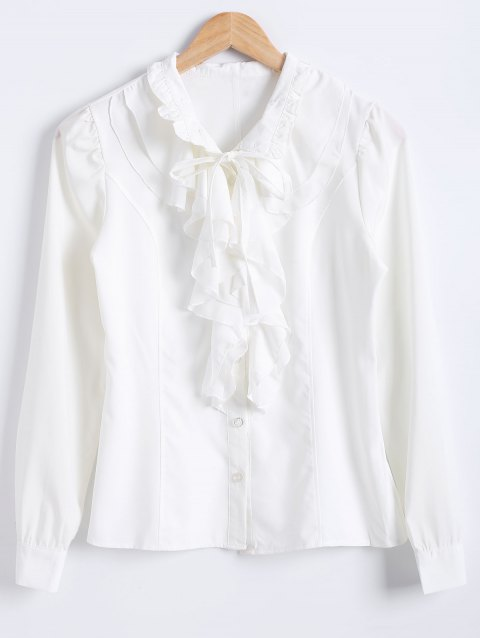 Flounced Bowtie Collar Chiffon Plain Shirt - MILK WHITE L