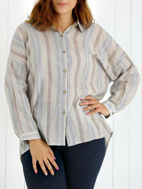 Oversized Colored Striped Long Sleeves Shirt - LIGHT BLUE 3XL