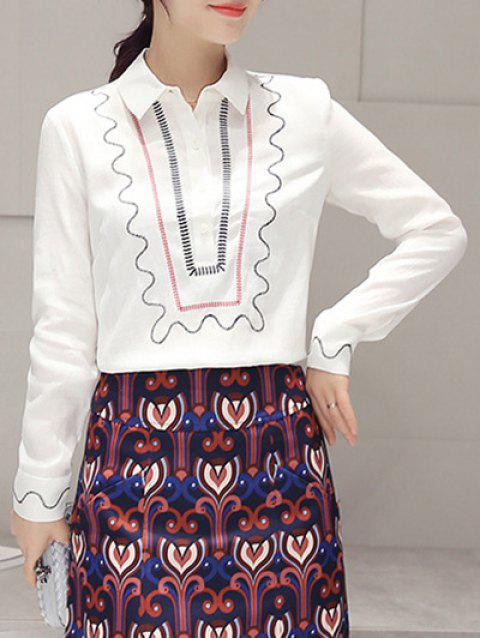Embroidery Long Sleeve Ethnic Print Blouse - WHITE L