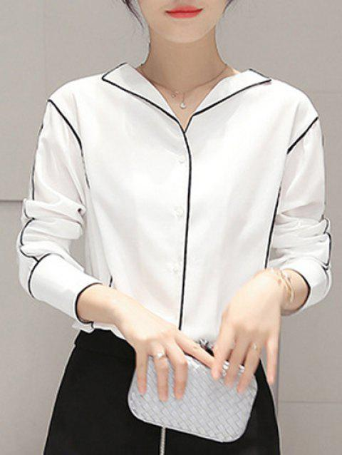 OL Style Long Sleeve Loose Shirt - WHITE XL