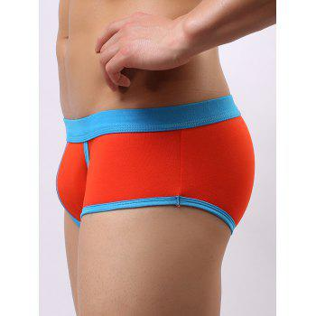 Color Block Splicing Low Waist U Convex Pouch Boxer Brief - ORANGE ORANGE