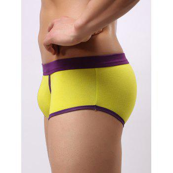 Color Block Splicing Low Waist U Convex Pouch Boxer Brief - YELLOW YELLOW