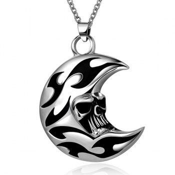 Rock Enamel Moon Skull Head Pendant Necklace