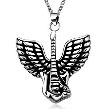 Stylish Steel Color Flying Wings Pendant Necklace - SILVER SILVER