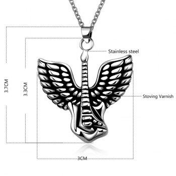 Stylish Steel Color Flying Wings Pendant Necklace - SILVER