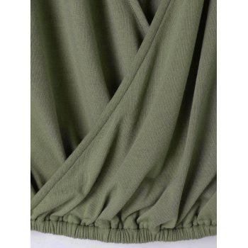 Faux Wrap Sleeveless Loose Fitting Blouse - ARMY GREEN ARMY GREEN