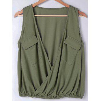 Faux Wrap Sleeveless Loose Fitting Blouse